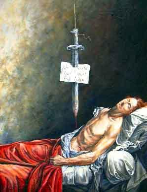 Verlorene Kunst nach Jacques-Louis David: »Lepeletier« [1793], zerstört um 1827, 200x150, Öl auf Asche, Franz Schuck, 2005
